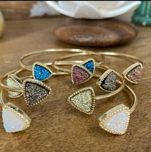 Jewelry - Raw Druzy Triangle Stone Bangle Bracelet